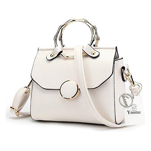 Yoome stilvolle Taschen für Frauen Circular Ring Top Handle Tote Elegant Taschen für Charm Casual Taschen - Grau Weiß