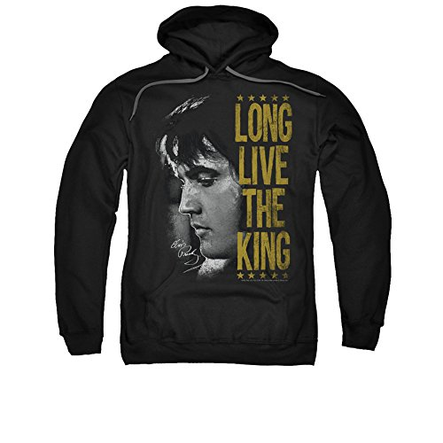 Elvis Presley 1960's The King of Rock Long Live The King Adult Pull-Over Hoodie Black