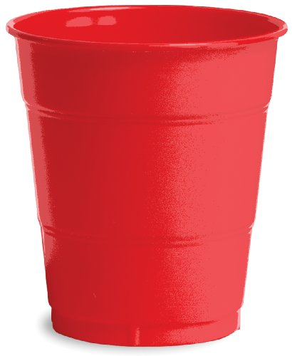 Creative Converting Premium 12 Ounce Plastic Cups, Classic Red Color