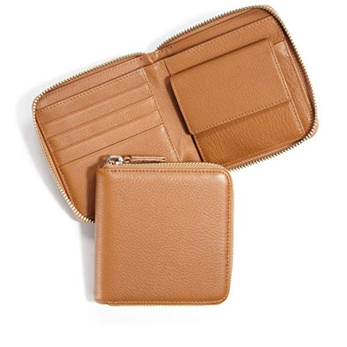 Small Zippered Wallet - Full Grain Leather - Cognac (brown)
