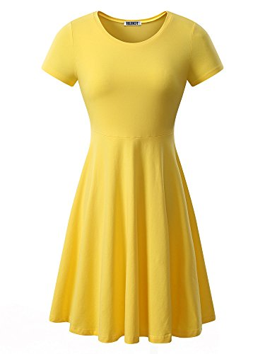 HUHOT Women Short Sleeve Round Neck Summer Casual Flared Midi Dress Small Yellow -