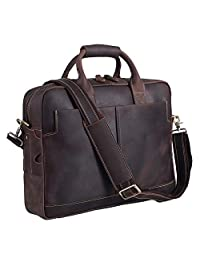 """Texbo Genuine Leather Men's Briefcase Messenger Tote Bag Fit 17"""" Laptop"""