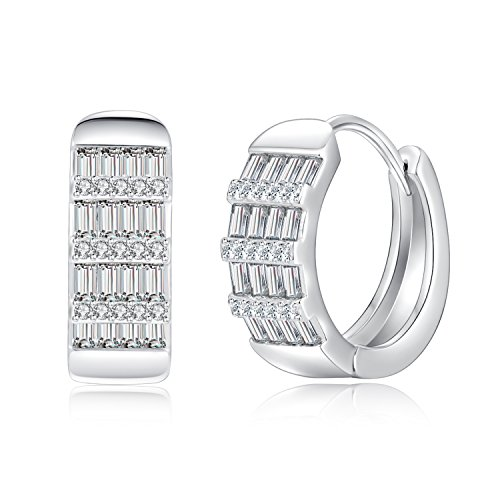 Hoop Earring 18K White Gold Plated Cubic Zirconia Round Crystal Earrings for Women Girls 0.81