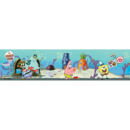 [Blue Mountain Wallcoverings NS026443 SpongeBob Self-Stick Wall Border] (Spongebob Wall Border)