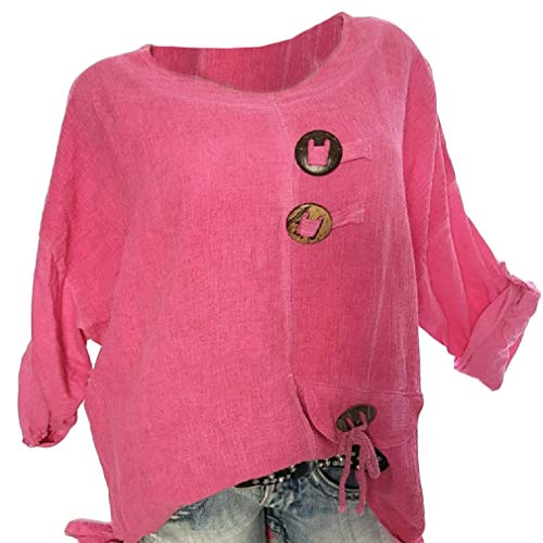Mfasica Womens Crew-Neck Long Sleeves Cotton Linen Tunic Shirts Blouse Tops Rose Red - Animal Print Tunic Trimmed