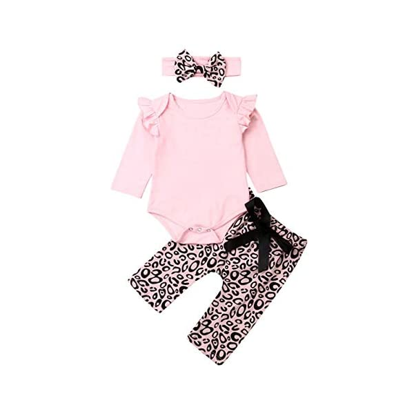Kerrian Online Fashions 41-xAEhkWJL 3PCS Infant Toddler Baby Girl Clothes Floral Ruffle Romper Long Sleeve Bodysuit Halen Pants Headband Outfits