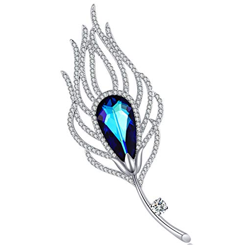RAINBOW BOX Brooches for Women, with Swarovski Blue Rhinestone Feather Jewelry Brooches