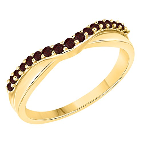 DS Jewels Women's 14k Gold Plated Alloy White/Yellow/Rose/Black 1/4tcw Round Cut Created Red-Garnet Curved Wedding Band Ring Size 4-11 ()