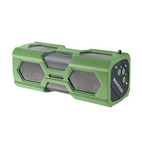 ROCKTECH Bluetooth Speaker,Sport Portable Wireless Waterproof Speaker, Dual 3W Drivers,Enhanced Bass,Built in Mic,for Golf,Pool Party,Beach,Camping,Hiking,Shower & Home(Green)