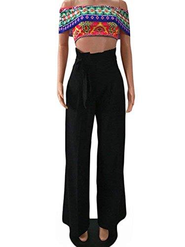 High Rinalay Tempo Autunno Pantalone Monocromochic Libero Colpo Pantaloni Nero Primaverile Elegante Donna Moda Pantaloni Cintura Waist Larghi Pants Inclusa Casuale S6qr4xSa