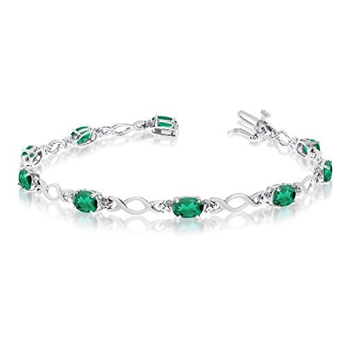 "3.10 Carat (ctw) 10k White Gold Oval Green Emerald and Diamond Infinity Tennis Bracelet - 7"" Length"