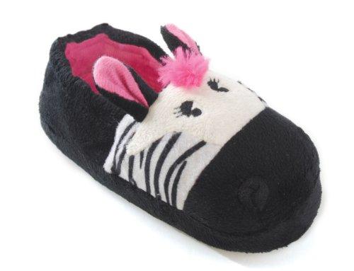 Slumberz , Chaussons pour fille - Noir - Black Zebra, 9-10 UK