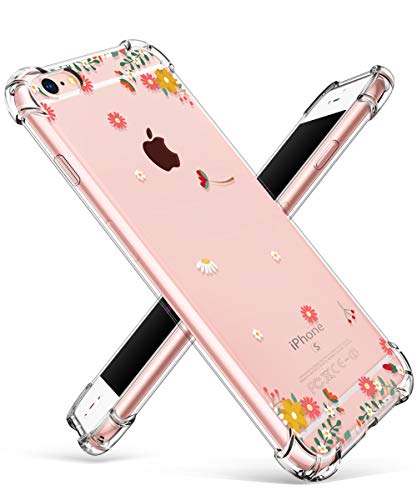 (GVIEWIN Compatible for iPhone 6/6s Case, Clear Flower Pattern Design Soft & Flexible TPU Ultra-Thin Shockproof Transparent Floral Cover, Cases iPhone 6/6s (Spring Flowers/Orange))