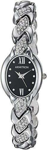 Armitron Women's 75/5576BKSV Swarovski Crystal Accented Silver-Tone Bracelet Watch