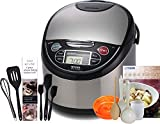 Tiger JAX-T18U-K (10 Cups Uncooked/20 Cups Cooked) Micom Rice Cooker with Food Steamer & Slow Cooker, Stainless Steel Black & Zonoz 8-Inch Rice Paddle/Wooden Stirring Spoon Bundle For Sale
