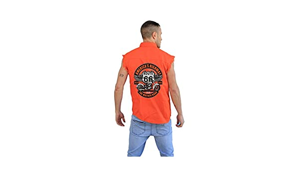 099f79fa9855f Men s Mechanic Cut-Off with Reflective Stripe-Americas Highway Route 66 at Amazon  Men s Clothing store