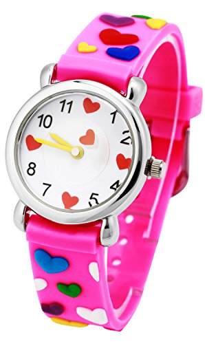 Tonnier 3D Kids Watches Healthy Material Violet Pink Rubber Band Children Watches Lots and Lots of Love for - Cheap Warehouse Designer