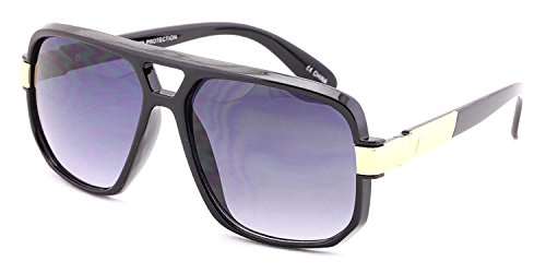 Gazelle Swag Square Oversized Sunglasses (Black & Gold Frame, Black ()