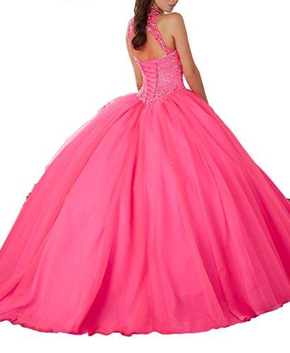 Cristaux Brillants Haut Du Cou Dreses De Bal Magnifiques Longues Femmes Chupeng Girls'ball Perles Robe Robes Quinceanera Turquoise