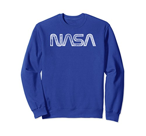 - Unisex NASA Vintage Distressed NASA Worm Logo 2XL Royal Blue