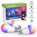 Novostella B22 RGB Alexa Light Bulbs, LED Wifi Smart Bulb Work with Google Home, IFTTT, Dimmable Timing RGBCW ( Emit Tuneable Cool White, Warm White, Multi Colour ), 7W 600lm, Remote Controlled by Smartphone, 3 Pack (No Hub Required)