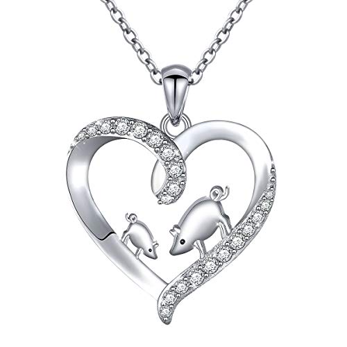 Mother Child Heart Necklace - 925 Sterling Silver Cubic Zirconia Mama Pig Mother Child Heart Pendant Necklace Women Girls, 18 inch (Mama Pig Necklace)