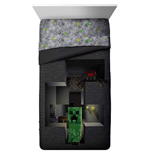 MineCraft Spawn Twin/Full Comforter and Pillow Sham 2 Piece Set