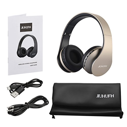 Bluetooth Headphones JIUHUFH Foldable Wireless Headsets Over Ear with Microphone (Upgrade Gold) Image