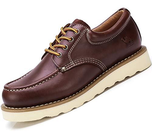 CAMEL CROWN Mens Work Shoes Safety Toe Boots Leather Moc Toe Casual Dress Shoes for Men Oxford ()