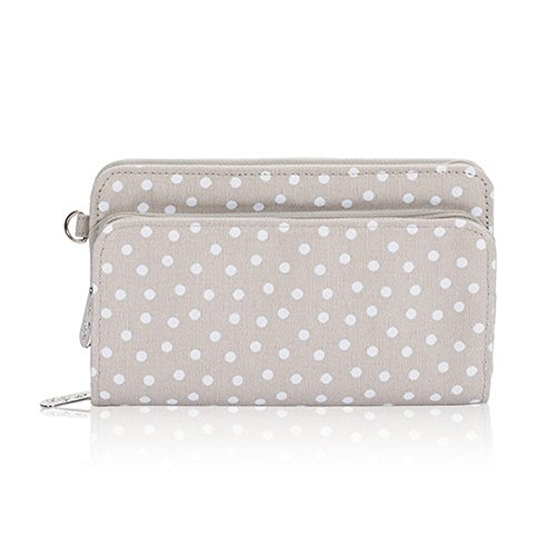 Thirty One Perfect Cents Wallet in Taupe Dancing Dot - No Monogram - 4808