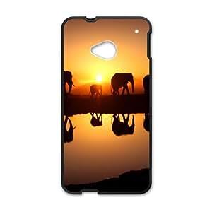 HTC One M7 Phone Case Black Elephant UYUI6769763