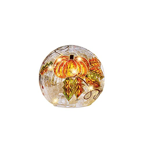 Collections Etc Lighted Sparkling Pumpkin Cracked Glass Ball with Fall Leaves, Tabletop Indoor Décor, Small by Collections Etc