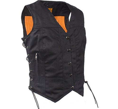 Ultimate Leather Apparel Womens Black Denim Motorcycle Vest With Side Laces Gun Pockets (XL, Black)