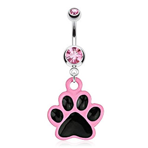 14G Paw with Black Enamel Plating and Pink Outline Dangle Navel Ring (Sold Individually)