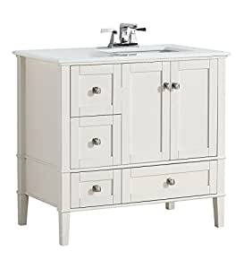 "Simpli Home Chelsea 36"" Right Offset Bath Vanity with White Quartz Marble Top, Soft White"