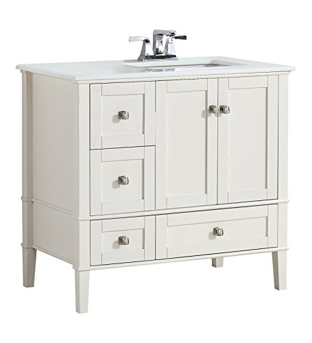 Simpli Home NL-HHV029-36-2A-R Chelsea 36 inch Right Offset Bath Vanity in Soft White with White Engineered Quartz Marble Top