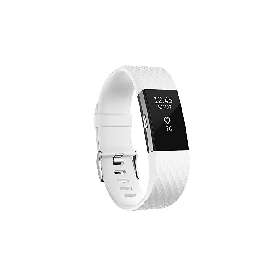iGK For Fitbit Charge 2 Bands, Adjustable Replacement Bands with Metal Clasp for Fitbit Charge 2 Wristbands Special Edition White Small