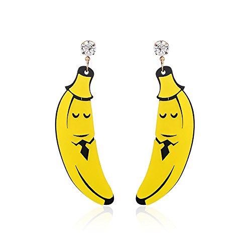 JUESJ Personality Wacky Fruit Lemon Banana With Acrylic Dangling Earrings for Girls Dance Accessories (Banana) ()