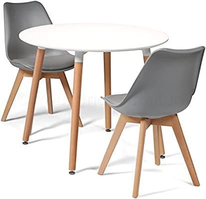 2ae509c6a8e4 Your Price Furniture.com Toulouse Tulip Eiffel Style Dining Set - White 90cms  Small Round Table And 2 Grey Chairs. Loading Images.