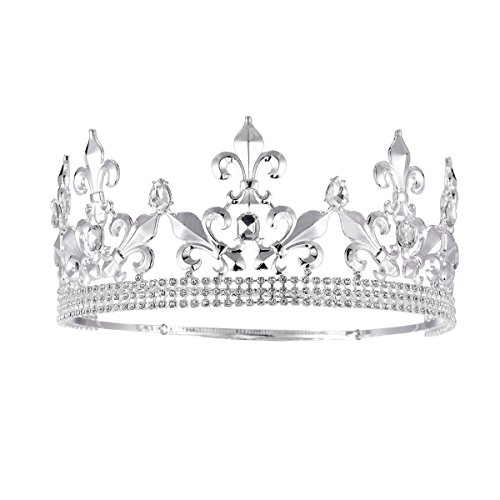 SSNUOY Adjustable Full Round Imperial Medieval Tiara Fleur De Lis King Crown Silver Finish -