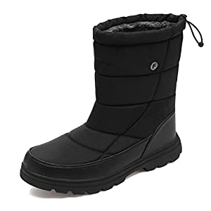 YIRUIYA Men's Snow Boots Winter Water Resistant Booties, Slip On Ankle Boots for Men with Full Fur