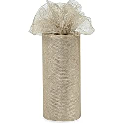 "Pack Of 1, Solid Medal Bronze Glimmer Tulle Ribbon 6"" X 25 Yards For Special Occasions Such As Christmas & Weddings"