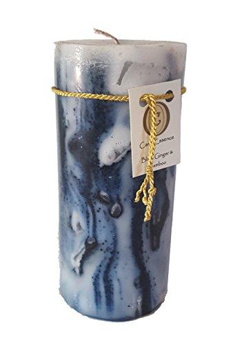 Scented Pillar Candle - Long Burning Handmade - Black Ginger & Bamboo (Medium)