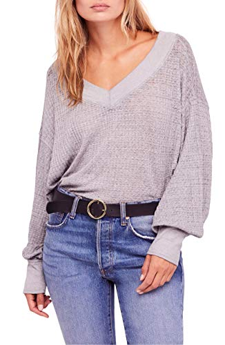 We The Free Womens Southside Ribbed Double V Thermal Shirt Purple M from Free People