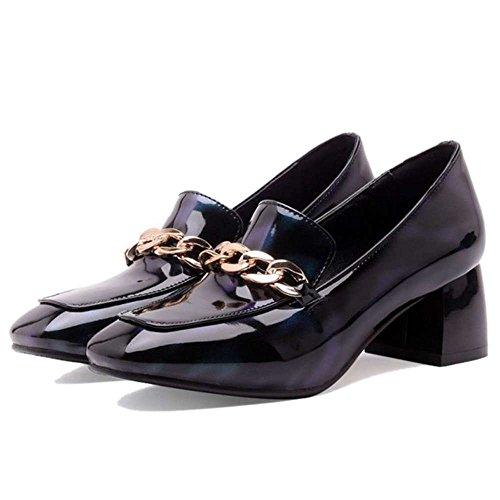 Schuhe SJJH Style Damen mit Grün großem eckiger Schuhe niedrigem Neutral Zehenpartie mit und Casual Blockabsatz PAwPFfqx