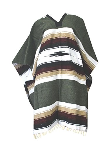 Del Mex Mexican Diamond Woven Eastwood Poncho (Sage Green)