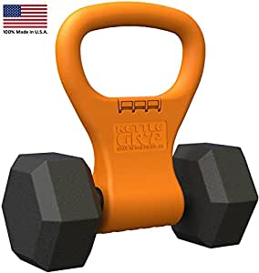 KETTLE GRYP - Kettlebell Adjustable Portable Weight Grip Travel Workout Equipment Gear for Gym Bag, Crossfit WOD, Weightlifting, Bodybuilding, Lose Weight | Clamps to Dumbells | Made in U.S.A.