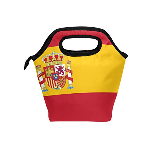 HEOEH Spain Flag Peace Hand Lunch Bag Cooler Tote Bag Insulated Zipper Lunch Boxes Handbag for Outdoors School Office by HEOEH