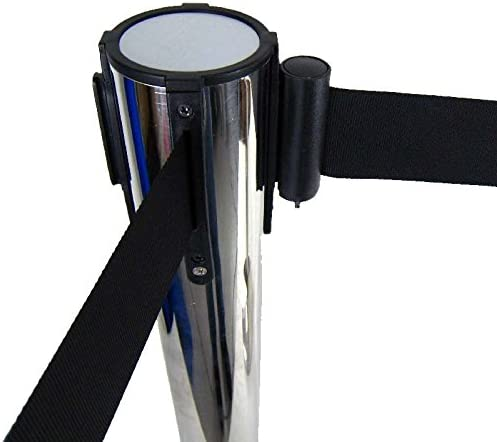 Band Personenleitsystem Abgrenzungsst/änder schwere Ausf/ührung 2x Absperrpfosten Absperrst/änder Silber mit 3 Meter Gurt