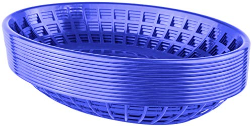 Bear Paw Products - Plastic Food Baskets - Oval Baskets - 12 Pack - Perfect for Fries, Burgers, Sandwiches, and More!